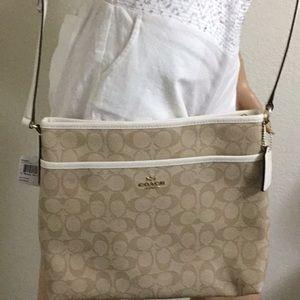 Coach Light Khaki /Chalk Leather Cross body Bag